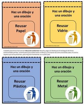 Foldables de las 3Rs para tu libreta interactiva: Reciclar, reducir y reusar