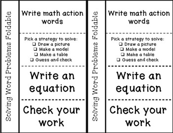 Foldables for Solving Math Word Problems- Common Core Interactive Notebook