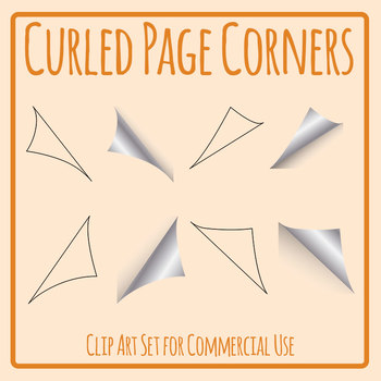 Folded Corner Clip Art Set for Commercial Use