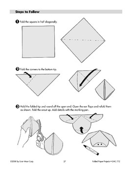 Folded Paper Pig Face and Standing Pig