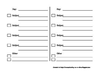 Folder Assignment Sheets