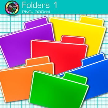 Rainbow Folder Clip Art {Back to School Supplies for Classroom Resources} 1