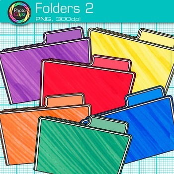 Rainbow Folder Clip Art {Back to School Supplies for Classroom Resources} 2