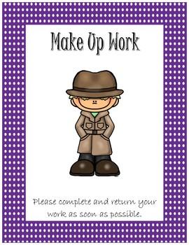Folder Cover for Absent Student~ Purple Polka Dot Detective
