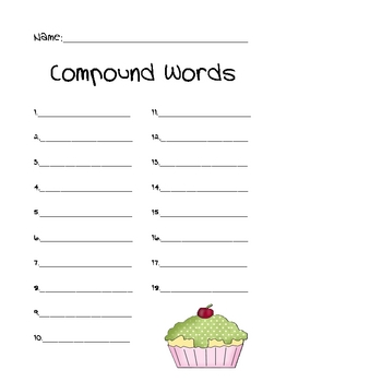 Folder Game: Compound Words - Cupcakes