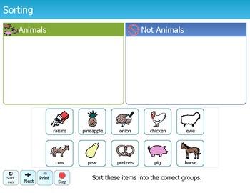 Folder Games - Sorting Animals versus Non Animals