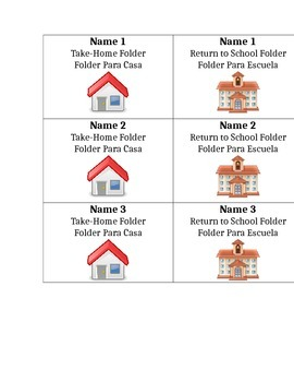 Folder Labels in English and Spanish