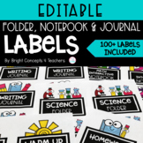 EDITABLE Folder, Notebook & Journal Labels {3.3 x 4 inches}