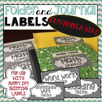Folder and Journal Labels 2x4 - Black and White