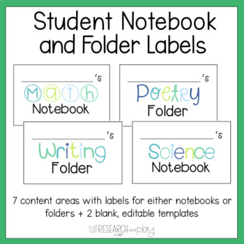 Folder and Notebook Labels Cool Colors