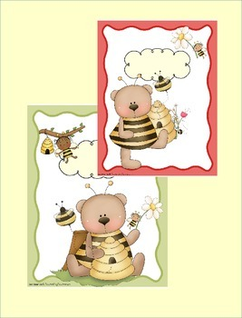 Folder / Binder COVERS in Bumblebee & Bear Theme