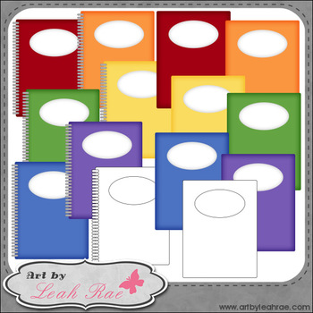 Folders and Notebooks 1 - Art by Leah Rae Clip Art & Line Art / Digital Stamps