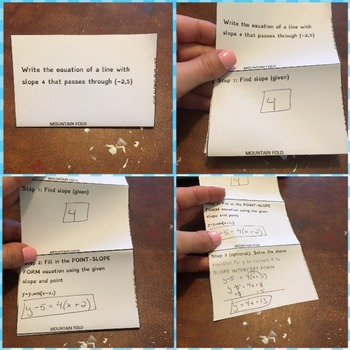 Folding activity for writing equations of lines