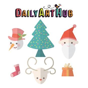 Foldmark Christmas Sets Clip Art - Great for Art Class Projects!
