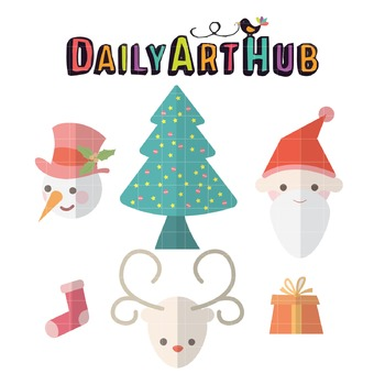 Foldmark Christmas Sets Clip Art - Great for Art Class Projects!