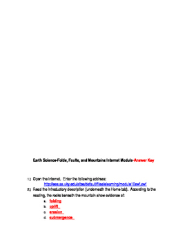 Folds, Faults, and Mountains Internet Module