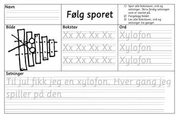 Følg sporet - sporingsoppgaver med bokstaver, ord og setninger