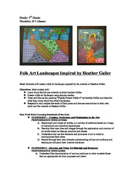 Folk Art Landscape Drawing Inspired by Heather Galler