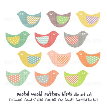 Folk Bird Clip Art, Pastel Colors, Polka Dots, Chevron, for TpT Sellers