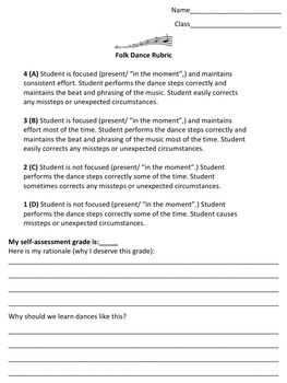 Folk Dance Rubric Student Self Assessment Worksheet
