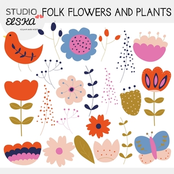 Folk Flowers and Plants Clipart - Studio ELSKA