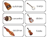 Folk Instruments Printable Flashcards. Preschool Music.