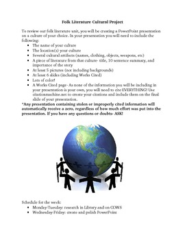 Folk Literature Cultural Research PowerPoint Project