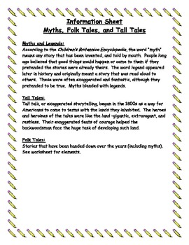 Folk Tale, Tall Tale & Myth Book Report