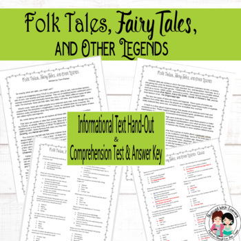 Folk Tales, Fairy Tales, and Other Legends PowerPoint, Writing Papers, and Test