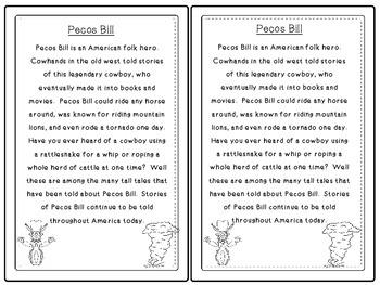 Folk Tales - Pecos Bill Close Reading and Activities