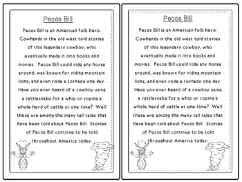 Folk Tales - Pecos Bill Close Reading and Activities