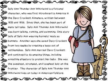 Folk Tales - Sally Ann Thunder Ann Whirlwind Close Reading and Activities