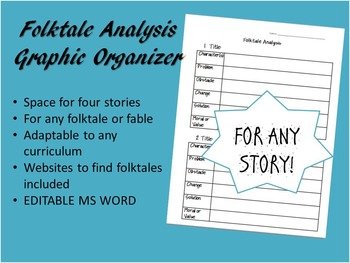 Folktale Analysis Graphic Organizer for ANY STORY