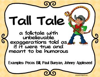 Folktale Genres Poster Set FREEBIE! Fairy Tale, Tall Tale, Fable, Myth, & Legend