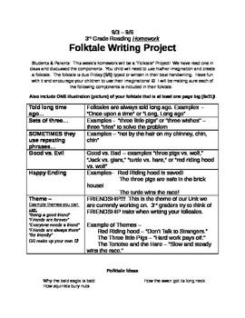 Folktale Writing Project Details