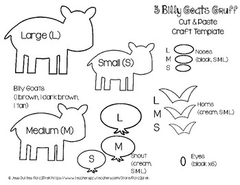 Folktales Cut and Paste Craft Template - Three Billy Goats Gruff