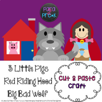 Folktales Cut and Paste Craft Bundle - 3 Little Pigs, Riding Hood, Big Bad Wolf