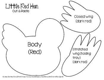 Folktales Cut and Paste Craft Template - Little Red Hen