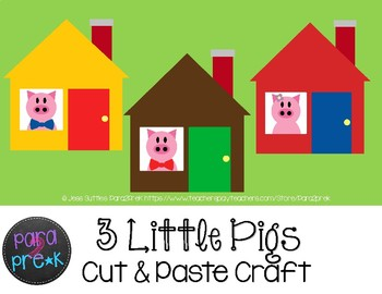 Folktales Cut and Paste Craft Template - Three Little Pigs