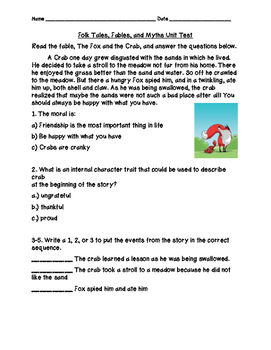 Folktales, Fables, and Myths Unit Comprehension Test & Interactive Study Guide
