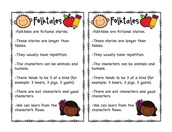 Folktales Interactive Notebook Pages