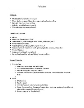 Folktales Notes Basic