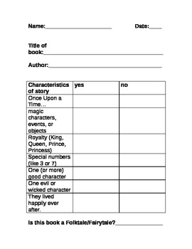 Folktales and Fairy Tales Checklist