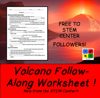 Follow Along Volcano Fill in the Blank Worksheet by The STEM Center