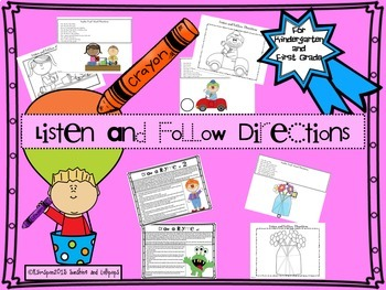 Follow Directions Activity Bundle for K-2