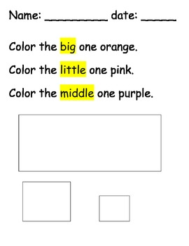 Follow Directions: Size & Color Words