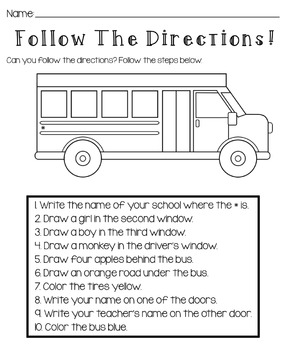 Back To School: Follow The Directions Worksheet