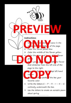 Follow These Instructions Back to School or End of Year Fun, Printable Worksheet