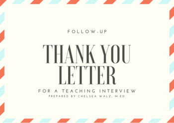 Follow-Up Thank You Letter for a Teaching Interview