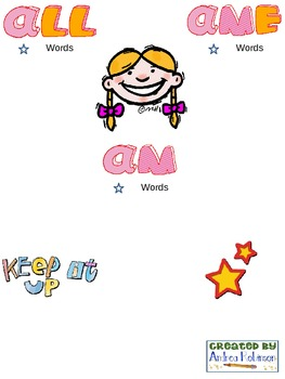 Follow along packet with Word Family PowerPoints
